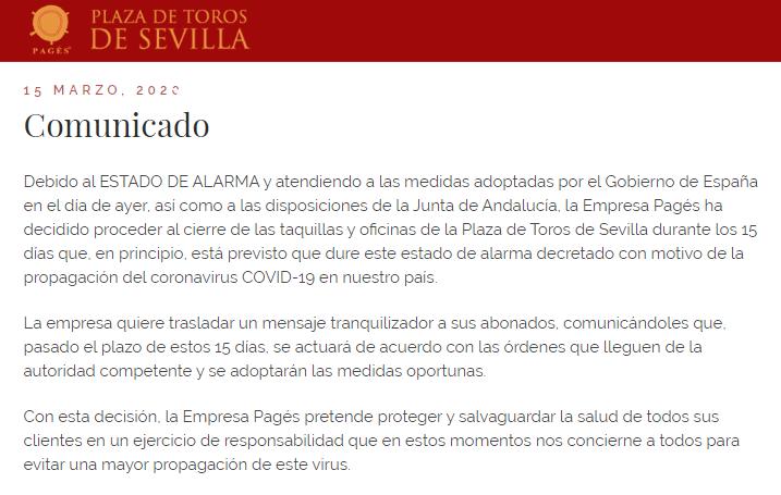 Plaza de toros de Sevilla comunicado