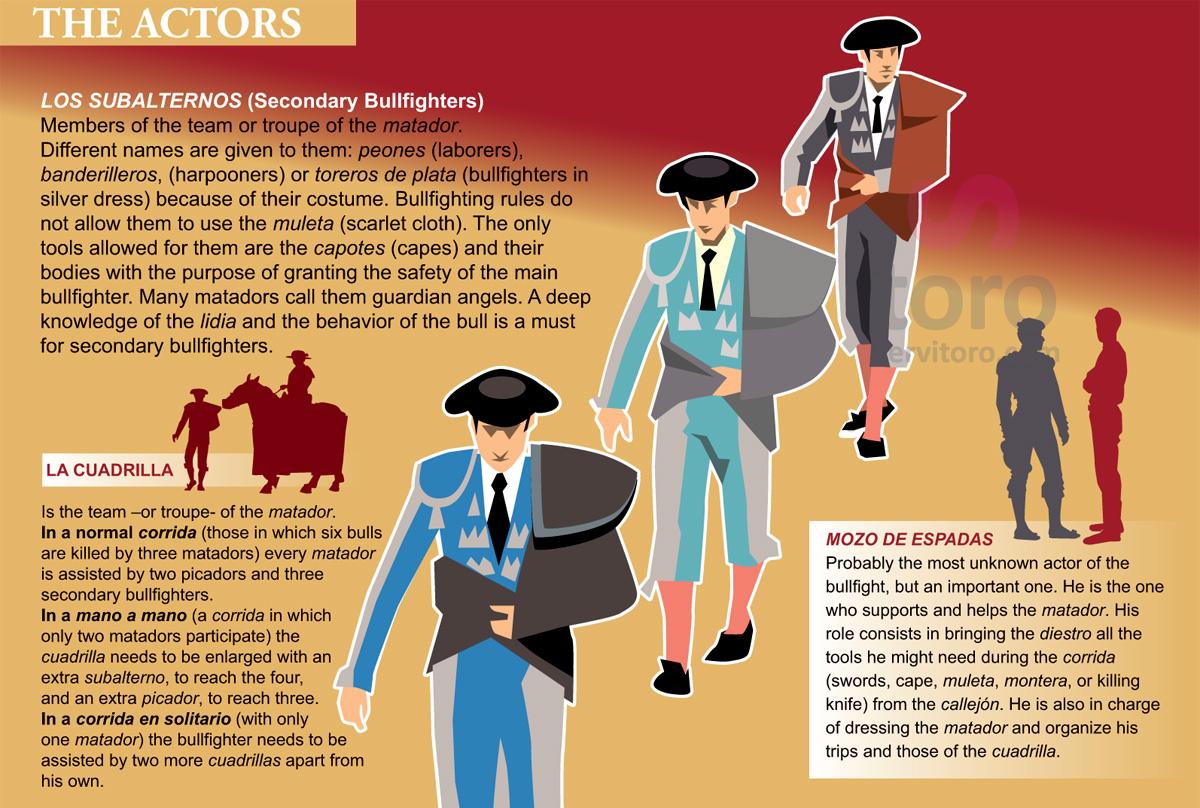 Bullfighters, secondary bullfighters, members of the team.