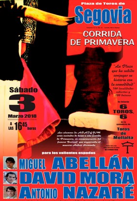 Buy the bullfight tickets to see the best bullfighters on the Arena!! Segovia 2018