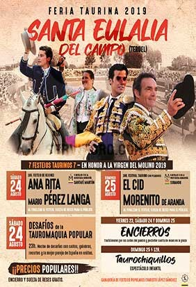 Buy tickets Live bulls in Santa Eulali of Teruel 2019