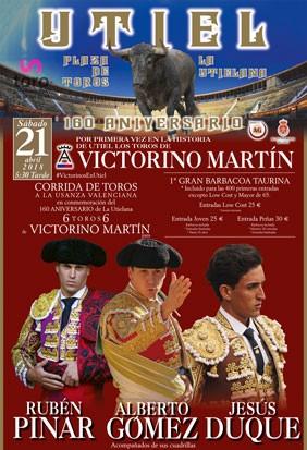 Grandiosa corrida de toros, 160 aniversario plaza Utiel..