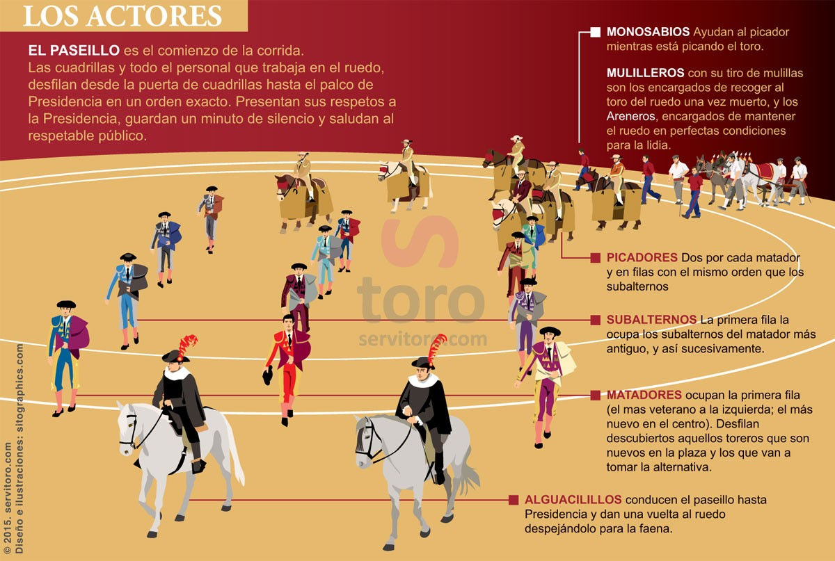 Bullfighters, their troupes and all people who work in the bullfight