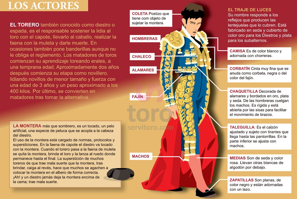 El torero or matador (Bullfighter) a person who participates in a bullfight